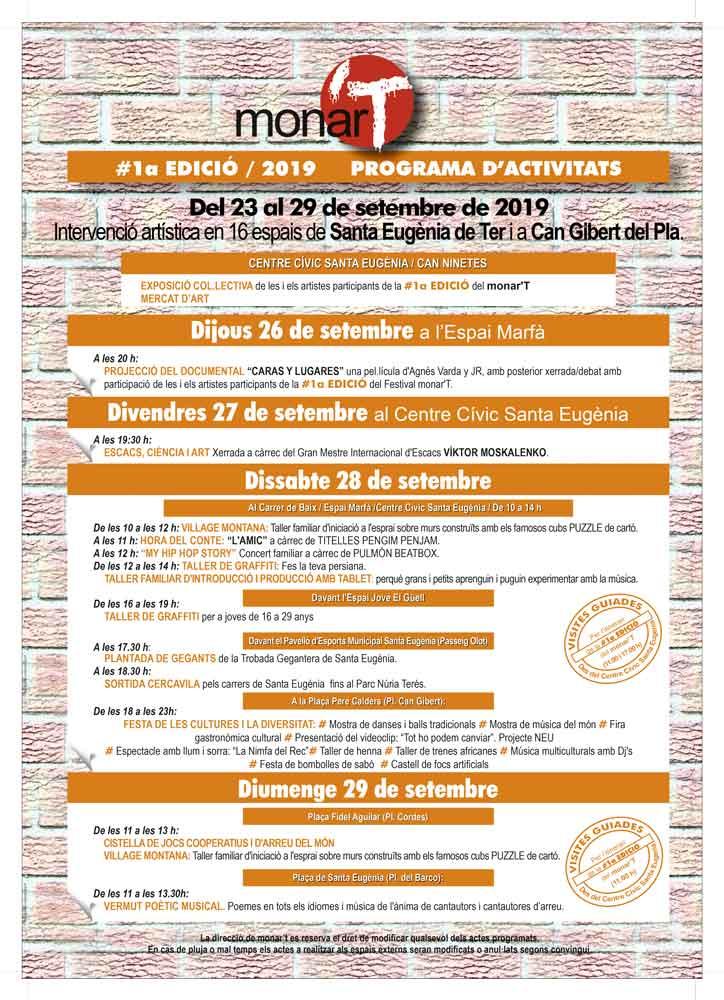ACTIVITATS Del 23 al 29 de setembre de 2019 16 espais a Santa Eugènia de Ter i a Can Gibert del Pla.